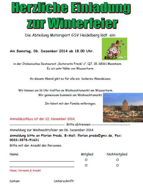 Winterfeier-Motorsport